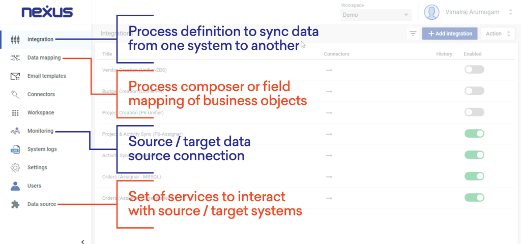 Nexus screenshot, menu